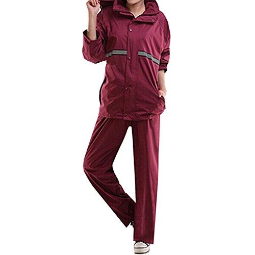 BOZEVON 2 Pièces Mode Moto Combinaison de Pluie Imperméable Ensemble Veste et Pantalon pour Homme et Femme Randonnée Camping, Vin Rouge, EU XL=Tag 2XL