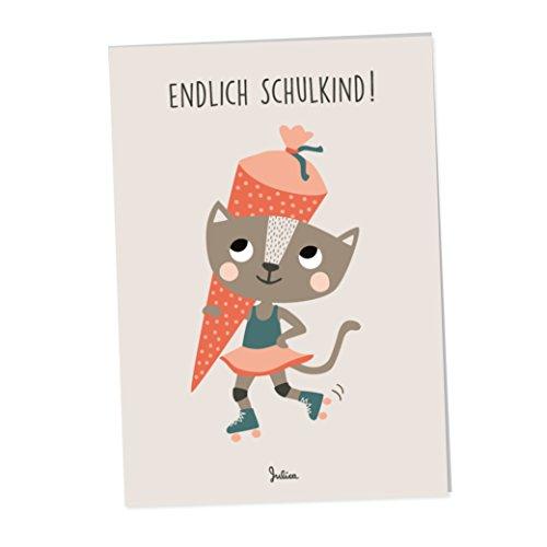 JulicaDesign Einladung Einschulung | 6 Klappkarten mit Umschlag | 6er Set | freches Katzenmotiv mit Zuckertüte für Mädchen