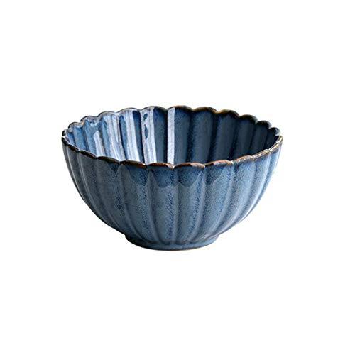 LBBZJM Ramen Sopa tazón Cuencos tazón de cerámica de Grano Cuenco de Gran Capacidad Ramen Bowl Restaurant Soup Bowl de Ensalada de Fruta Cuenco Azul Postre Tazón 15.6X7.5CM