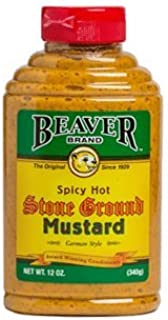 Beaver Spicy Stone Ground Mustard, 12 Ounce (Pack of 6)