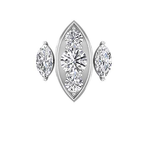 Art Deco 3/4 Carat Certified Diamond Cluster Stud Earring, Antique Gold Engraved Three Stone Bridal Wedding Earring, Vintage Marquise Earrings for Her, 18K White Gold, Single