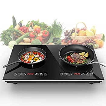 VBGK Induction Cooktop 2000W Countertop Burner Hot Plate with LCD Sensor Touch Energy-Saving Portable Induction Cooktops   Crystal Glass Plate Surface Suitable for Magnetic Cookware  Double Stove