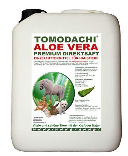 Tomodachi Aloe Vera für Pferde, Futterzusatz, Nahrungsergänzung Pferd, reines Naturprodukt ohne Chemie, Aloe Vera Premium Direktsaft aus dem Innengel frischer Aloe-Vera Pflanzen 5 Liter