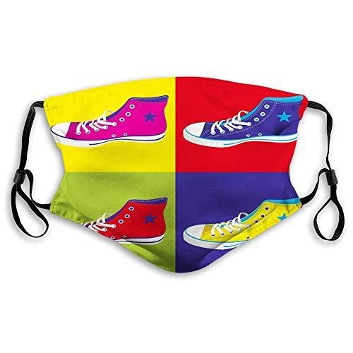 Mascarillas faciales lavables Reino Unido, estilo retro Kitsch zapatos deportivos en fondo gráfico cultural, decoraciones faciales para adultos (M)