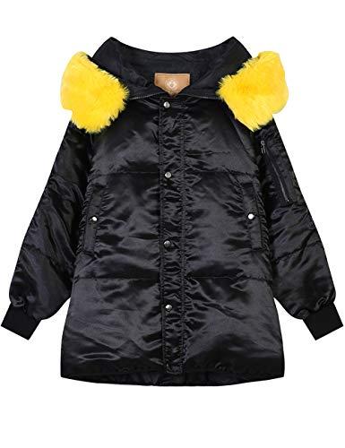 Elf zak dames donsjas winterjas warm gewatteerde jas met bontcapuchon dons-look outdoor gewatteerde jas