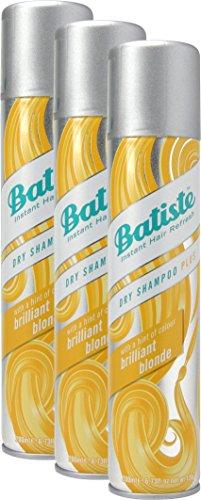 Batiste Brilliant Blonde Champú en seco con un toque de color para cabellos rubios, para todos los tipos de cabello (3 recipientes de 200 ml)