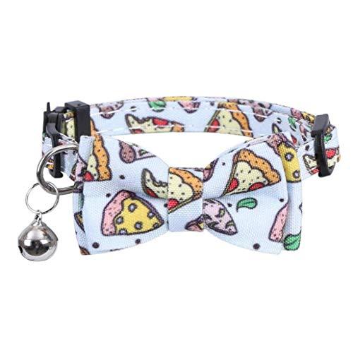 DierCosy Tools Collar del Gato Corbata rápida liberación Arco con Bell de Seguridad de Ajuste rápido para Pizza Impreso Gatito Perro