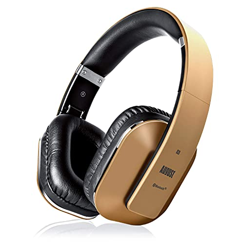 August EP650–Auriculares Bluetooth Inalámbrico–Auriculares Diadema Casco Plegable-Sonido Estéreo Bass Rich-Auriculares Orejeras Cómodas con NFC y aptX,Color Dorado
