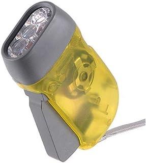 3 LED enrolla para arriba la linterna dínamo de la antorcha prensa de la mano del cigüeñal ligero para deportes al aire libre que acampa amarillo