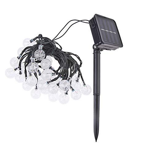 Cadena de luces, luces LED solares para jardín, luces solares de jardín, luz solar de color blanco cálido, lámpara de hadas de jardín (8 modos de 9,5 m)