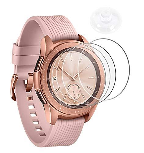 Wengerui 4 Stücke Panzerglas Schutzfolie für Galaxy Watch 42mm, Gehärtetem Glas Displayschutzfolie [9H Härte] [Anti-Kratzen] [Anti-Bläschen] [Vollständige Abdeckung] (42mm, Mit Saugnapf)