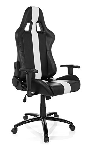 Gaming Stuhl/Bürostuhl Sportsitz Kunstleder IMOLA II schwarz/weiß hjh OFFICE