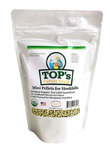 TOP's Parrot Food Mini Pellets Bird Food for Budgies, Cockatiels, Parrotlets, Lovebirds, Parakeets - Non-GMO, Peanut Soy & Corn Free, USDA Organic Certified - 1 lb