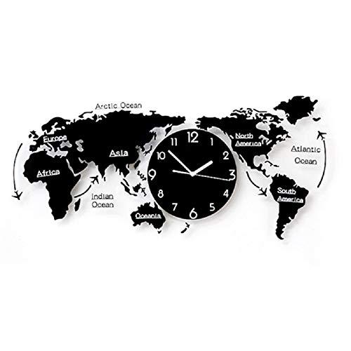 GARNECK Decoración del Hogar Creativo Reloj de Pared Mapa del Mundo Forma Material Acrílico Reloj de Pared Mudo Decoración de Pared Luminosa (31.5X17.8-Negro)