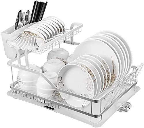 Rejilla para secado de platos de 2 niveles con tabla de drenaje y soporte para cubiertos, Rejilla para escurridor de platos de cocina con pico de drenaje, espacio de aluminio, 23 × 15 × 11 pulgadas