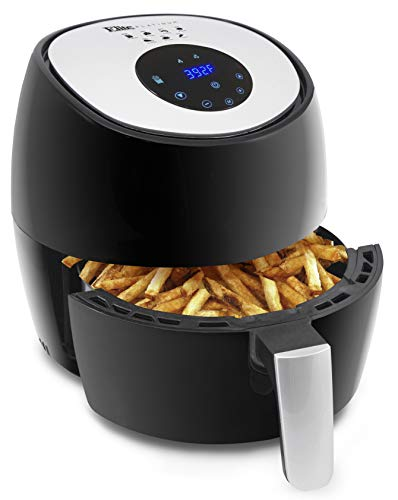 Maxi-Matic Electric Digital Hot Air Fryer Oil-Less Healthy Cooker, Temp/Timer Settings, 7 Menu Functions, PFOA/PTFE Free, 1300-Watts, Black 3.4 Quart
