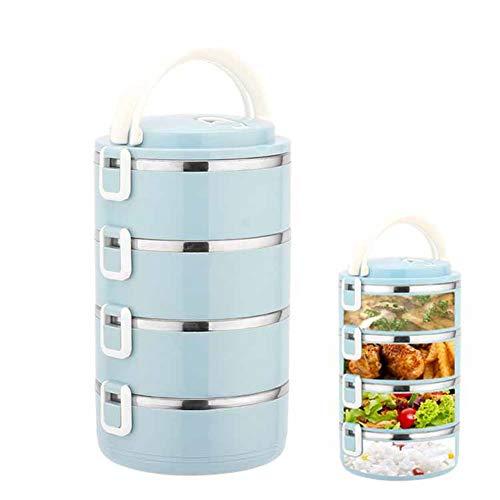 ZYJFP Bento Box met vier etages, roestvrij staal, capaciteit 2800 ml, draagbare bento-box met geurneutraal stempelkussen zonder waterafvoer, voor kinderen en jongeren