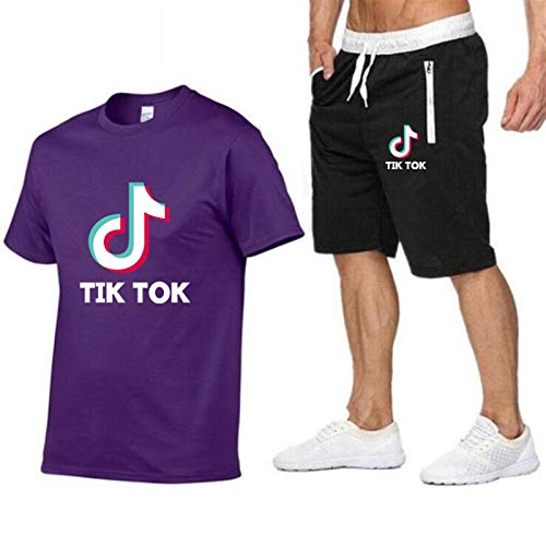 2-teiliges Set Sportswear Outfit Herren Damen Tik TOK Herren Sportanzug lässiges Kurzarm-T-Shirt + Shorts L.
