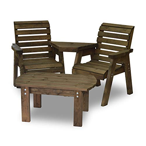 Barrowden Garden Companion Seat (Angled) with Curved Coffee Table (Rustic Brown)