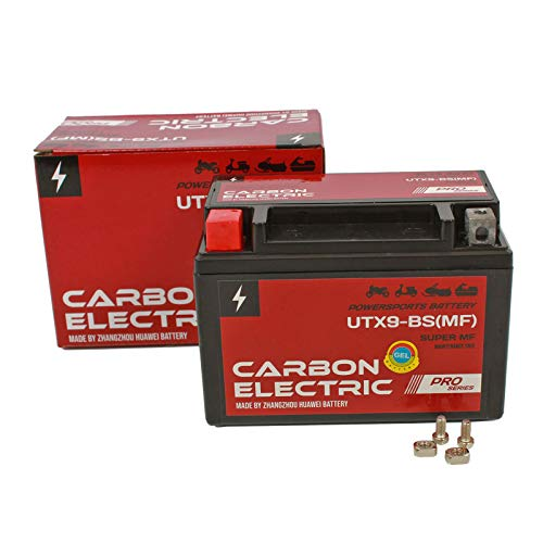 Carbon Electric Batterie UTX9-BS Motorradbatterie YTX9-BS 12V 8Ah Motorrad Roller Rollerbatterie