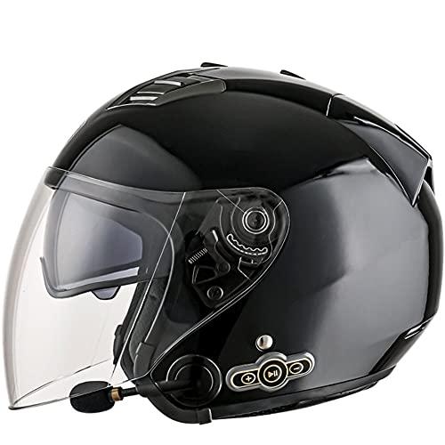 BCCDP Medio Abierto Casco de Moto con Bluetooth Integrado, ECE Homologado Casco Moto Jet Scooter para Mujer Hombre Adultos, con un Micrófono Incorporado Doble Visera M~XXL