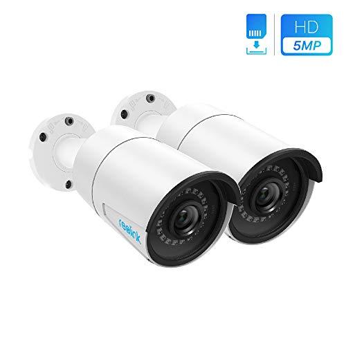 Reolink 2 Stück 5MP IP Kamera PoE Überwachungskamera Outdoor mit Audio, Micro SD Kartensteckplatz, Bewegungserkennung, Fernzugriff und IP66 Wasserfest für Aussen, Innen, Haus Sicherheit RLC-410-5MP