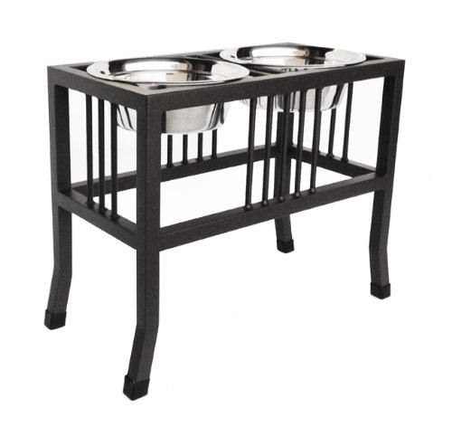 "Baron Double Bowl Elevated Diner - 18"" Tall - Raised Dog Feeder - Color: Black - Great for Large / XL Breeds - Best Pet Food and Water Bowls - Non-Skid Legs - Metal/Steel - Stainless Steel Bowls"