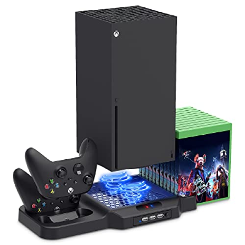 FYOUNG Soporte vertical para Xbox Series X/S con ventilador, estación de carga para Xbox Series X/S con base de carga para controlador, organizador de almacenamiento de juegos, 3 puertos USB