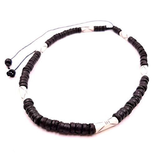 Collar surfero de coco, étnico, madera, perlas, tribal, colgante para hombre, mujer, niño, negro y blanco