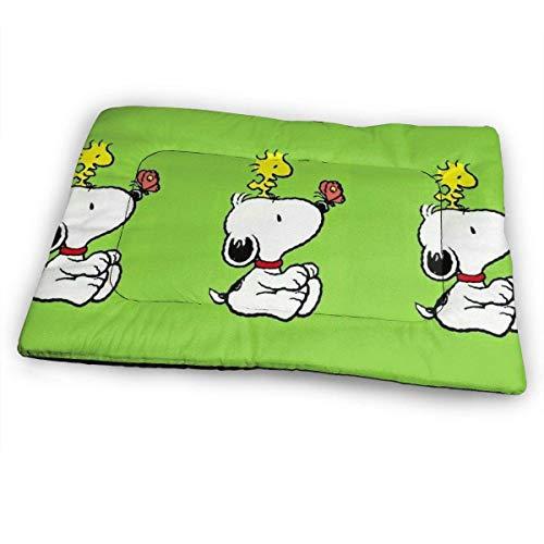 YAGEAD Riesige Haustierunterlage, Snoopy mit Butterfly Soft Dog Bettmatte, rutschfestes Haustier-Zwinger-Bett für übergroße Haustiere, 31 'x 21'