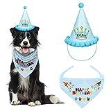 VIPITH Hund Geburtstag Bandana, Dreieckstuch Baumwolle Hund Schal mit niedlichem Doggie Geburtstag Party Hut, Tolles Welpe Hund Geburtstag Outfit, Geschenk und Party Dekoration Set