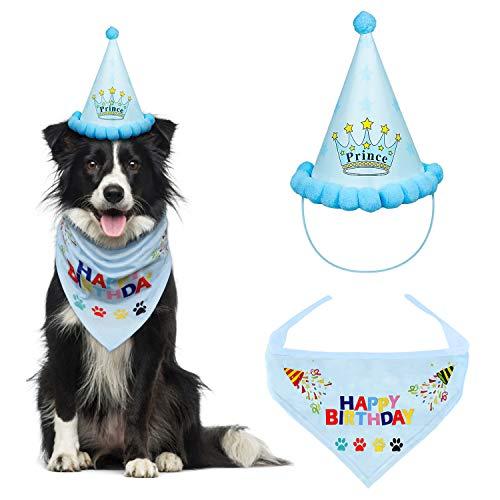 VIPITH Hunde-Geburtstags-Halstuch, Dreieck, Baumwolle, mit niedlichem Hund, Geburtstags-Partyhut, tolles Welpen-Hundekostüm, Geschenk und Party-Dekorationsset