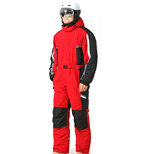 XUJINGJIE Tuta da Sci per Uomo Donna Monopezzo Impermeabile Calde Antivent Tute da Neve per Sci Sport all'Aria Aperta,Rosso,L