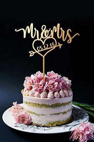 Taart Topper Mr en Mrs Bruiloft Maak Uw Eigen Met Uw Evenement Datum Keuze van Kleuren Beschikbaar width 5