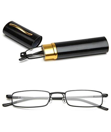VEVESMUNDO® Lesebrille Metall Klassische Scharnier Schmal Stil Brille Lesehilfe Augenoptik Vollrandbrille Mit Etui (Schwarz, 1.5)