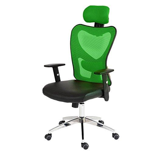 Profesional de oficina–Silla Atlanta XXL, giratoria, 150kg de piel sintética ~ verde