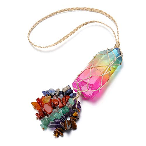 Jovivi 7 Chakra Healing Crystals Hanging Ornament Rainbow Titanium Coated Irregular Clear Quartz Rock Stone Tassels for Car Feng Shui Home Decoration for Good Luck Reiki Yoga Meditation Gifts