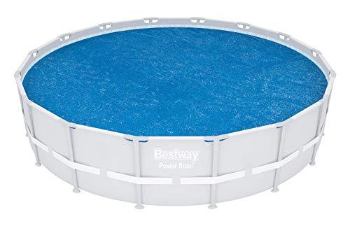 BESTWAY - Cobertor Solar para Piscina Desmontable Ø462 cm Redonda Fácil Instalación Azul Válido para Fast Set Ø549 cm, Steel Pro Ø457 cm y Power Steel Ø488 cm