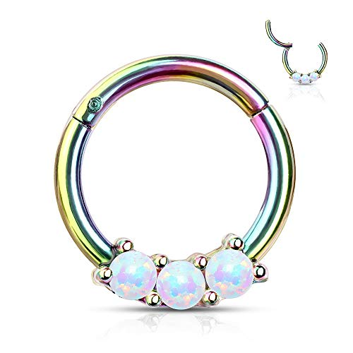 16G Stainless Steel Triple Synthetic Opal Hinged Segment Clicker Ring for Septum Helix Cartilage Tragus Daith Ear Piercings