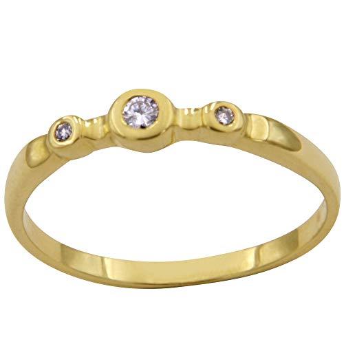 Anillo de oro con 3 brillantes – trabajo de orfebrería de Alemania (oro amarillo 585) – Anillo de diamante para mujer