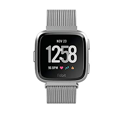 Yutior Metal Bands Compatible with Fitbit Versa 2 / Fitbit Versa Lite & SE/Fitbit Versa Smart Watch, Stainless Steel Metal Replacement Small Large for Women Men, Black, Champagne, Rose Gold, Silver