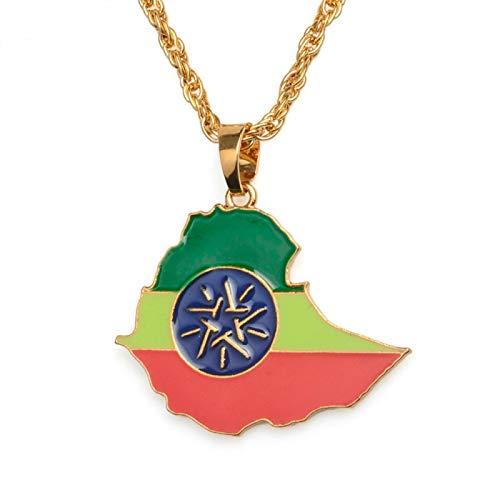 Colgante de mapa de Etiopía para hombre y mujer, oro #068706