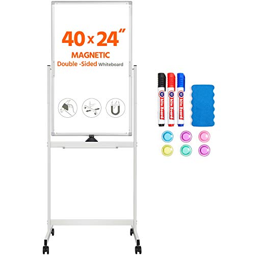 Yaheetech Rolling Magnetic Easel Whiteboard 40 x 24 Inch, Double Sided Dry Erase Board with Stand, Portable Large White Board with Flipchart, Silver Aluminum Frame