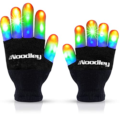 The Noodley Flashing LED Light Gloves Kids and Teen Sized with Extra Batteries Cosplay Boys and Girls - Ages 8-12 (Medium, Black)