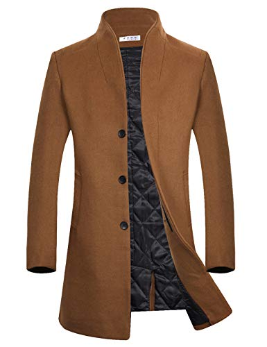 Men's Winter Wool Trench Coat Long Slim Fit Top Coat Business Suits Camel M