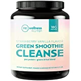 Reignite Wellness Green Smoothie Cleanse - Vegan Protein & Greens Detox Powder with Amino Acid Profile - Support Metabolism & Lasting Energy, Strawberry-Vanilla (15 Servings, 510 Grams) - by JJ Virgin