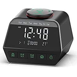 Digital Alarm Clock Radio with Dual USB Charging Port, Dual Alarm Clock with 12 White Noise Machine Sound for Adults & Kids, Bedside Battery Powered Clock Temperature, Snooze, Dimmer, for Bedrooms