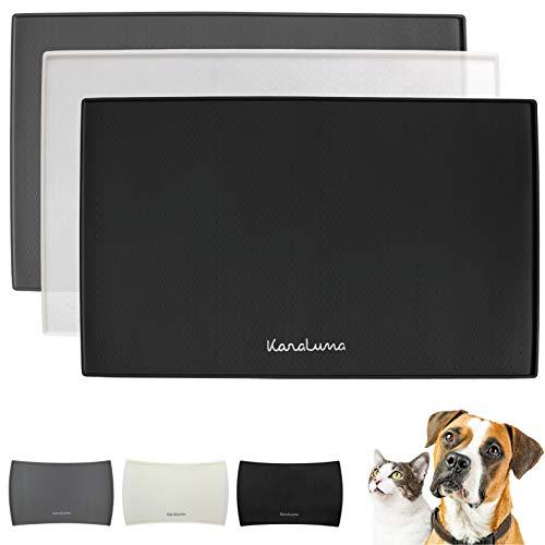 Napfunterlage aus Silikon für Katze und Hund I 2 Größen erhältlich I rutschfest I Futtermatte (48x30cm, Schwarz (eckig))