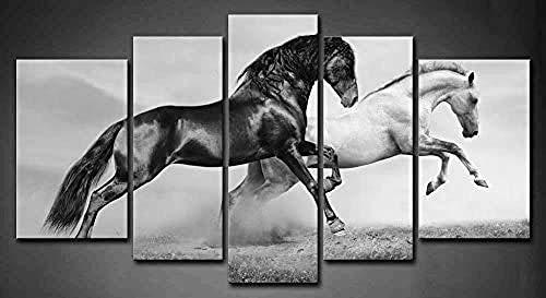 DBFHC Art Cuadros En Lienzo Caballos Blancos Y Negros Corriendo Decoracion De Pared 5 Piezas Modernos Mural Fotos para Salon Dormitori Baño Comedor 150X80Cm