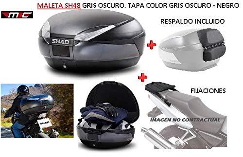 SHAD Kit BAUL Maleta Trasero SH48 Dark Grey litros + FIJACION + Respaldo Pasajero Regalo - Honda CBR 600F 2001-2008
